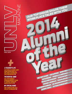 Magazine cover featuring 2014 Alumni of the Year story