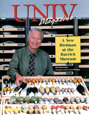 Magazine cover featuring A New Birdman at the Barrick Museum story
