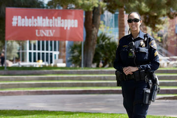 Sergeant Toni Summerlin, on patrol during the coronavirus campus closure.