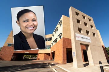 photo collage of black woman and medical building exterior