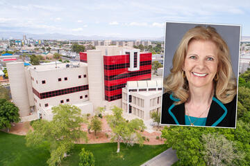 UNLV campus with portrait of woman inset