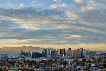 Clouds hang over the Las Vegas Strip