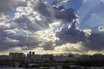 view of Las Vegas Strip with dramatic clouds