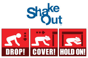 graphic with Drop, Cover and Hold On instructions for earthquakes