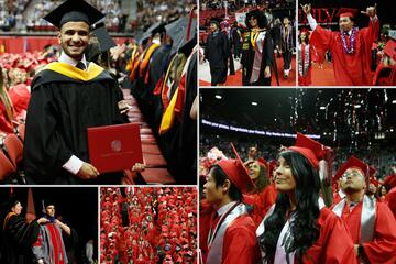 A collage of five photos. From top left: A master's student in a black cap and gown a master's student cheering during the processional; an undergrad student in a red cap and gown waving his arms in the air after crossing the stage; an undergrad student with confetti in the background; an aerial view of red cap and gowns walking down the center ailse; a Ph.D. student being hooded on the stage.