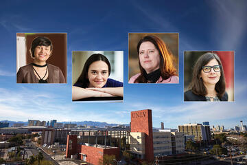 campus skyline with portraits of four women