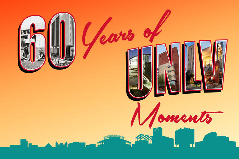 postcard-style illustration of unlv's 60th anniversary