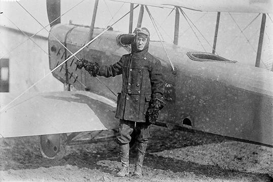 Frank Burnside pictured next to his plane