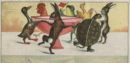 A painting of various birds and animals dancing a jig around the serving dish.