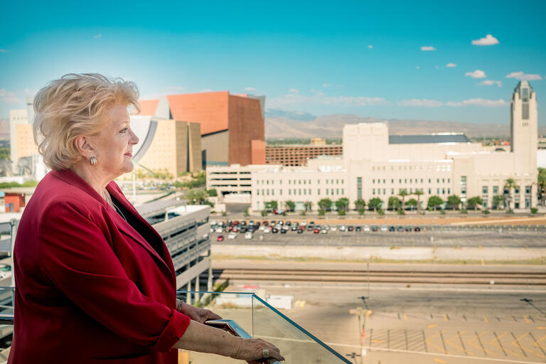 carolyn goodman with city skyline in the background
