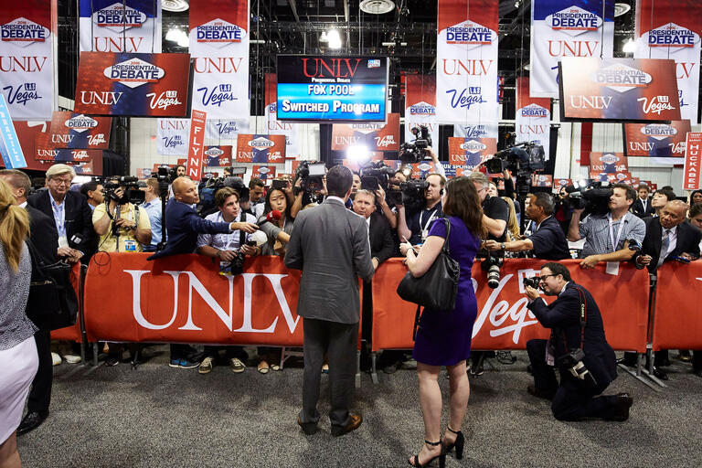 Media and reporters at a Presidential Debate event.