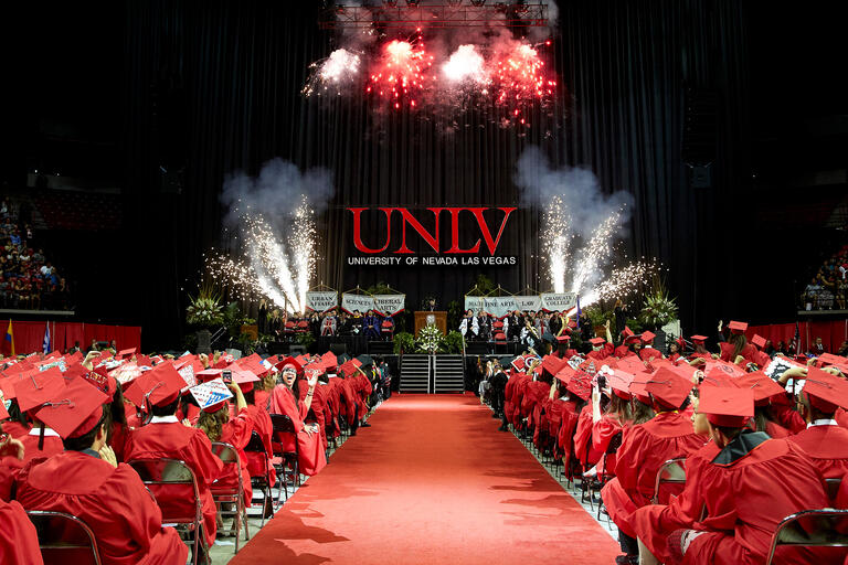 Fireworks ignite during commencement