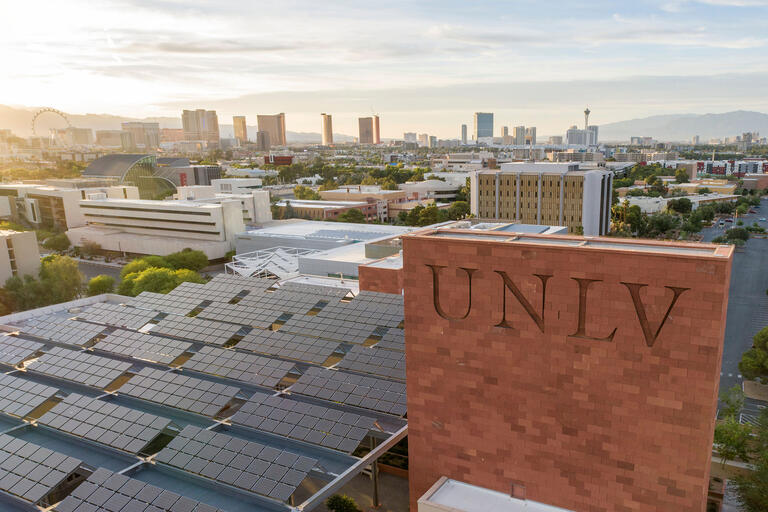 top of campus building with solar panels, view of The Strip