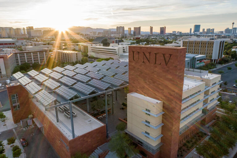 view of UNLV building and Las Vegas skyline