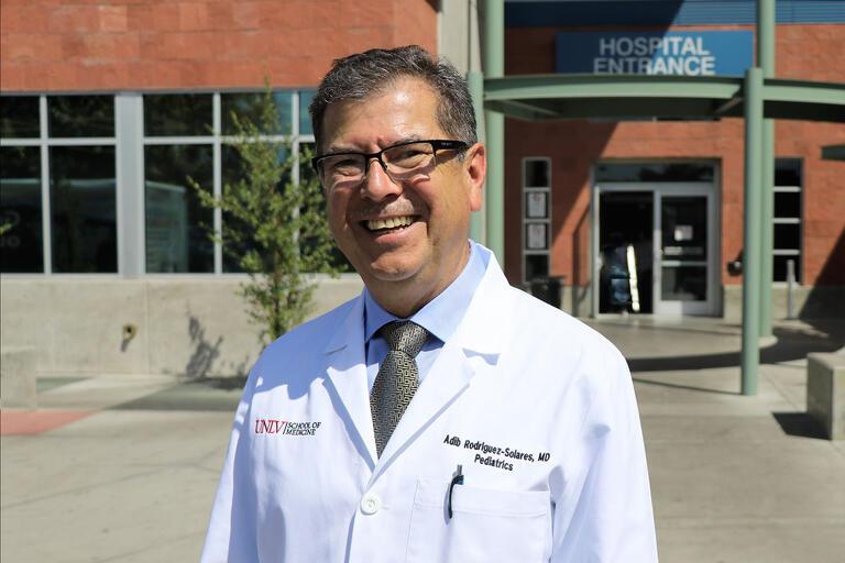 doctor at hospital entrance
