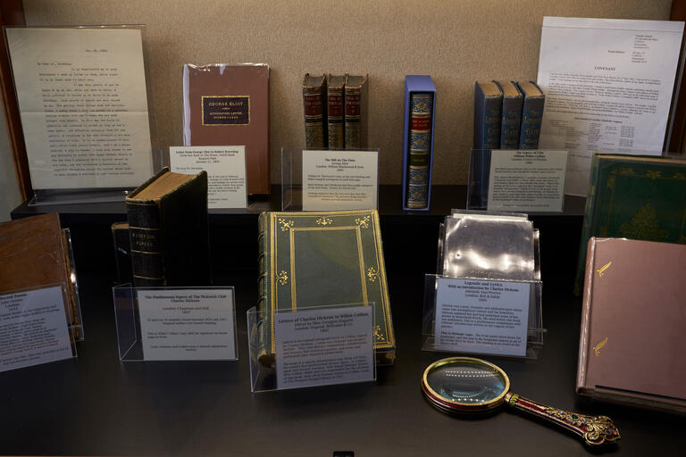 A series of books are displayed in a case