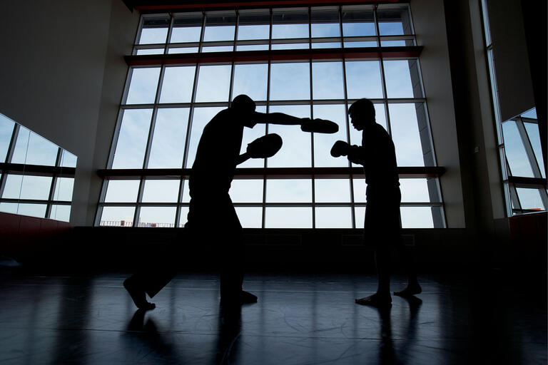 Two boxer in silhouette spar