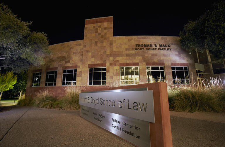 William S. Boyd School of Law at night