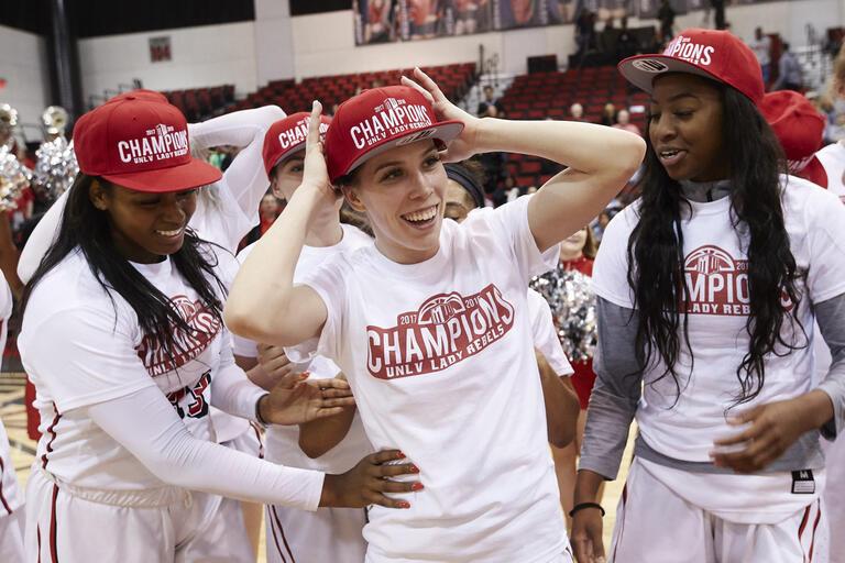 Brooke Johnson with teammates