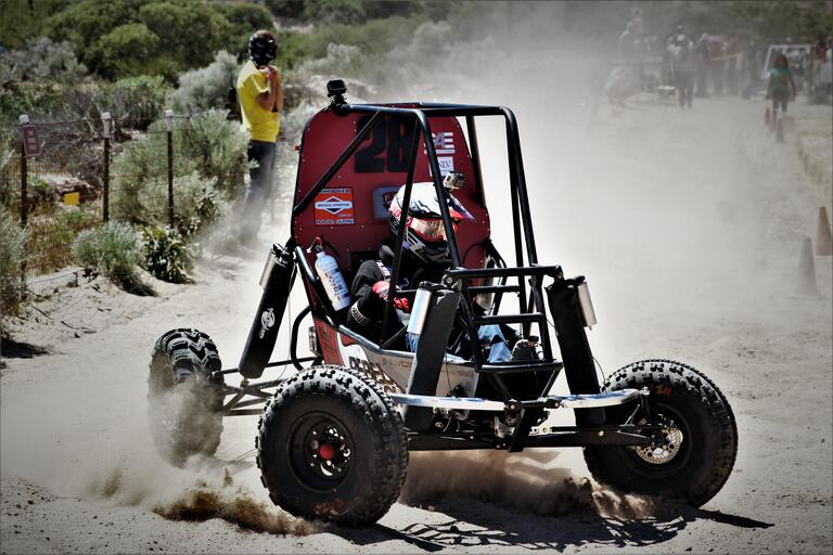 Rebel Racing driver Cody Mao puts UNLV SAE's car through the paces in Gorman, California.