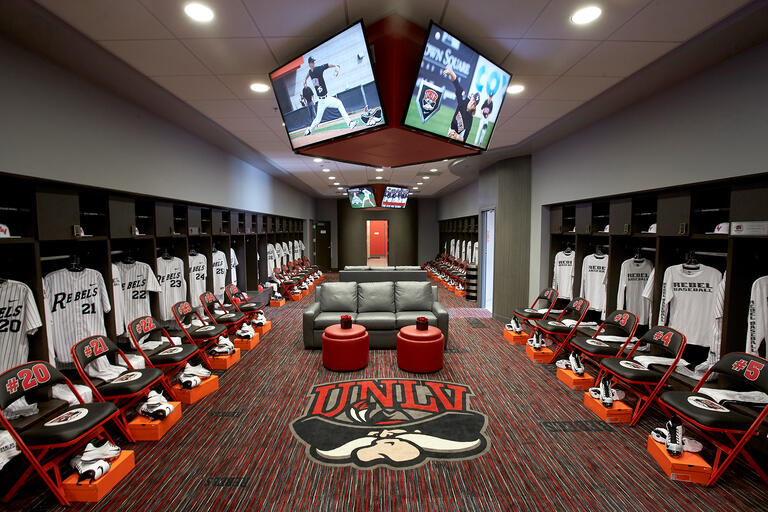 It's not overstatement to say that the Anthony and Lyndy Marnell III Baseball Clubhouserivals that any on a college campus. Thetwo-story complex totals 10,000 square feet and includes coaches offices, a players lounge, an academic area, a team locker room as well as training and equipment areas on the first level.