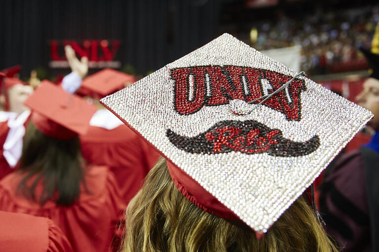 Grad cap with UNLV logo