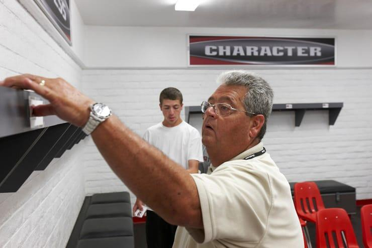 "Equipment manager Paul ""Pooch"" Pucciarelli takes us into the locker room."