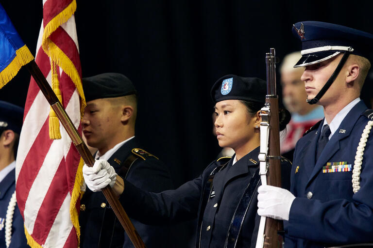 military members durin ceremony
