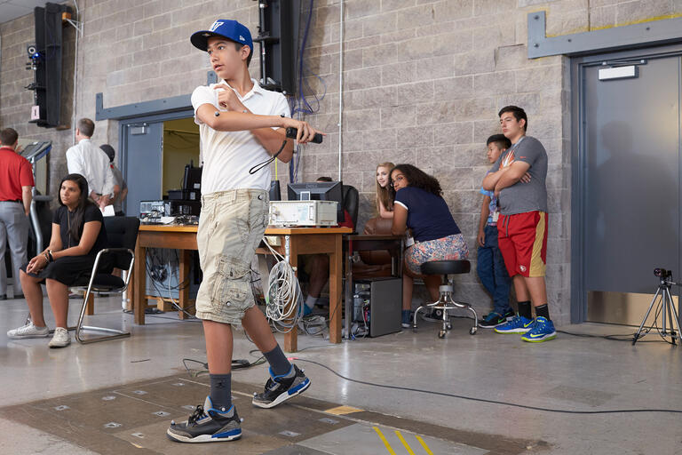 Students participate in a motion capture exercise