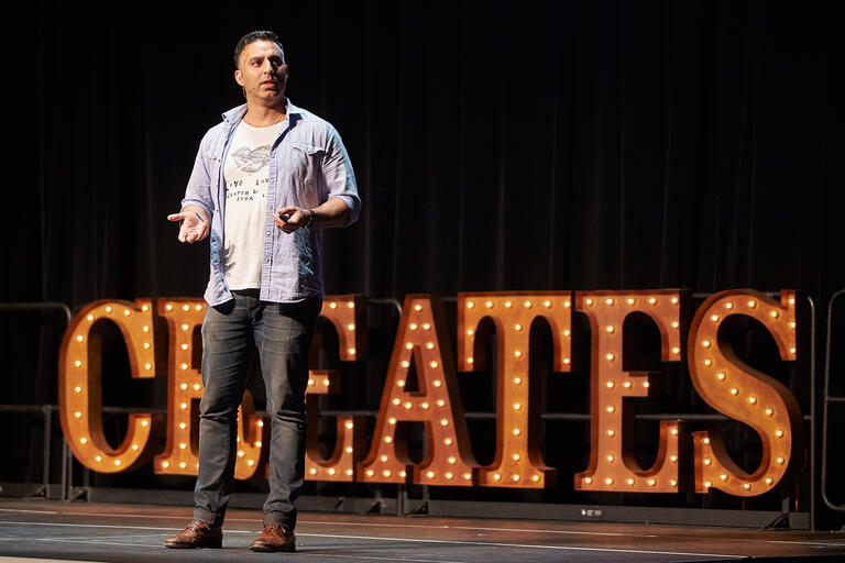Rehan Choudhry speaks during UNLV Creates