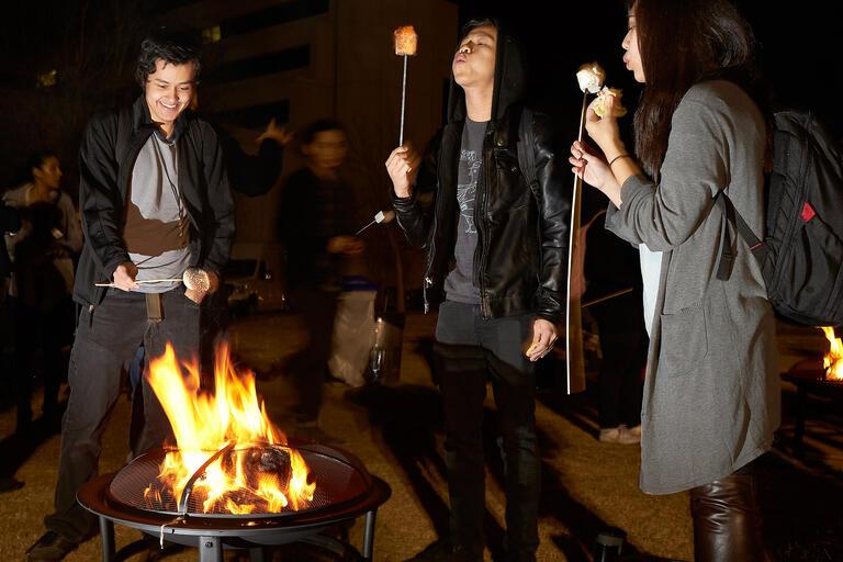 students roast marshmellows on campfire