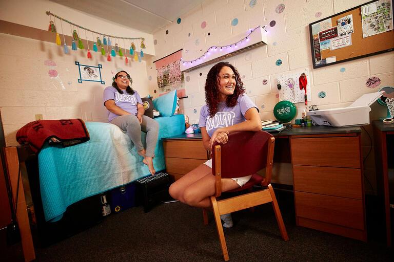 Student in dorm room