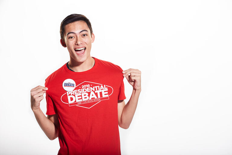 Christian Ogata sporting a 2016 Debate t-shirt