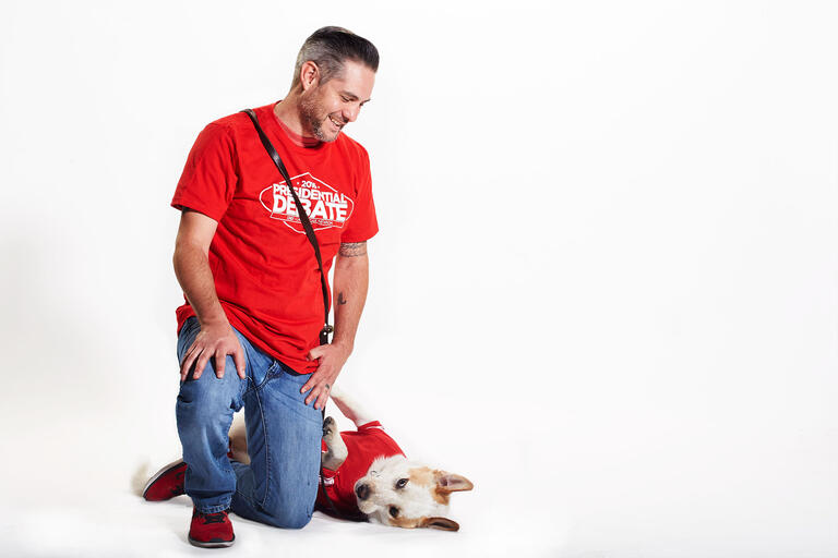 Randy Dexter and his service dog