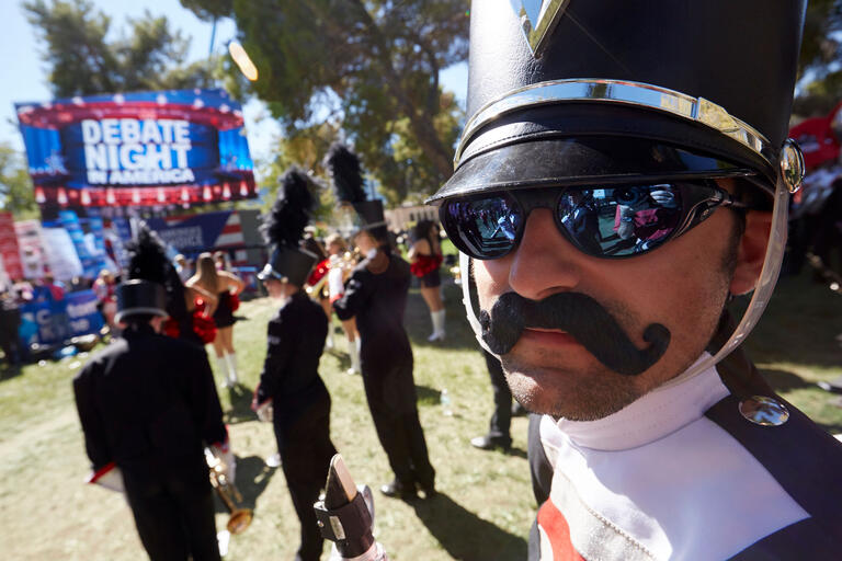 Close up photo of UNLV band member outside at a Presidential Debate event.