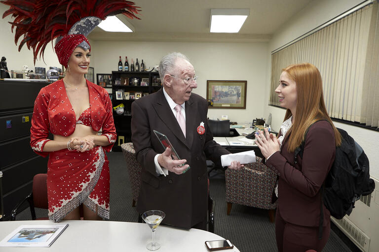 Oscar Goodman presents award to student Merissa Viviano