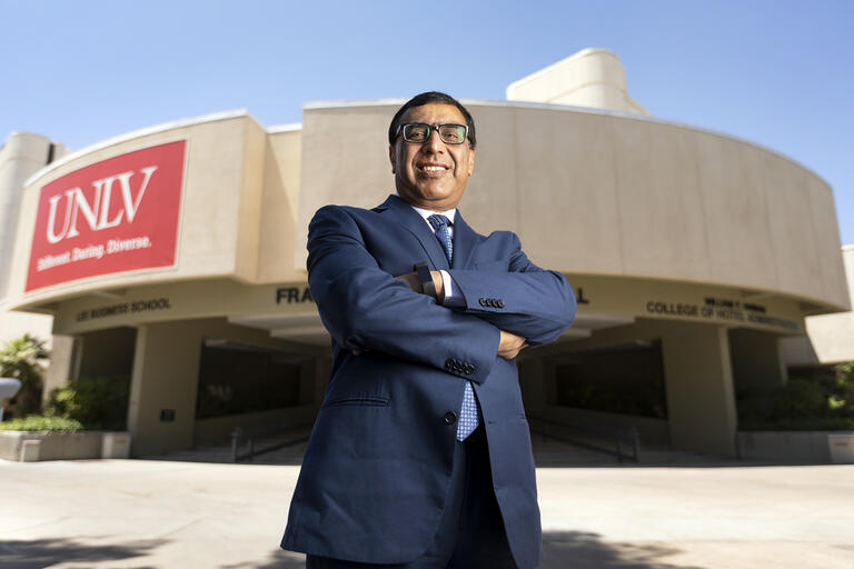 Portrait of man in front of UNLV building