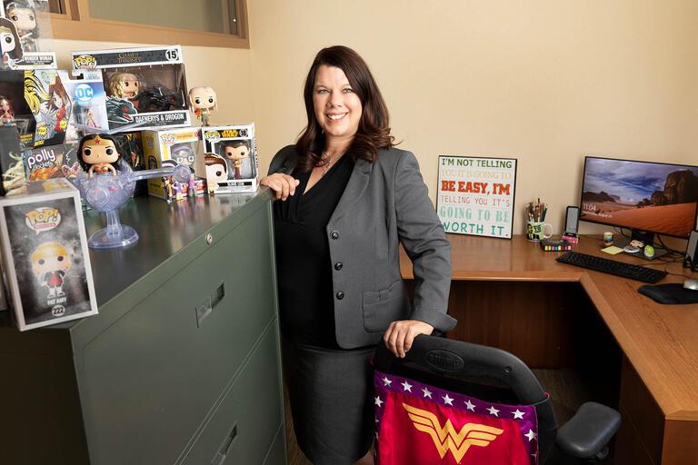 Jennifer Martinez standing in office.