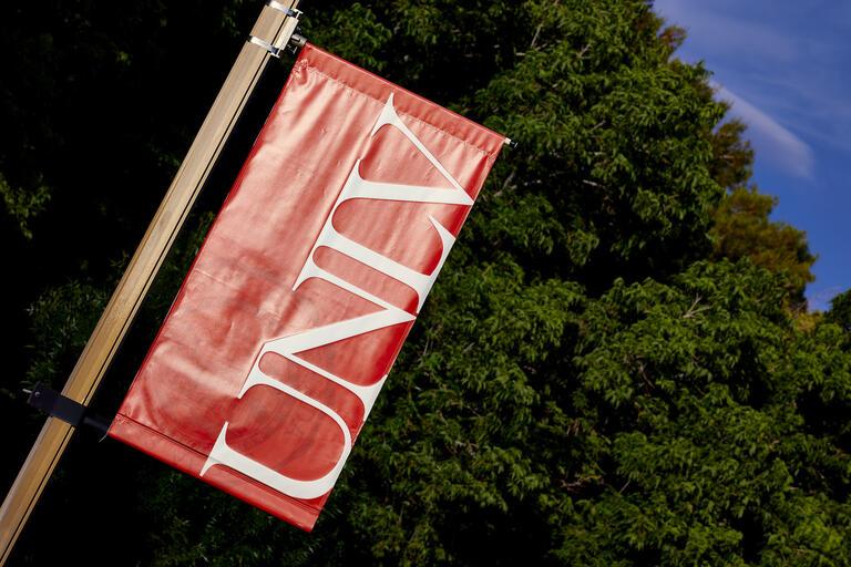 A UNLV banner on campus.