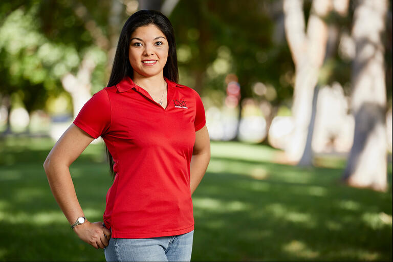 Outdoor portrait of Stacy Palacios-Esparza.