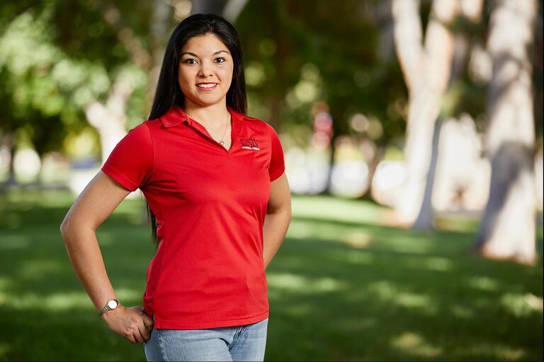 Outdoor portrait of Stacy Palacios-Esparza.