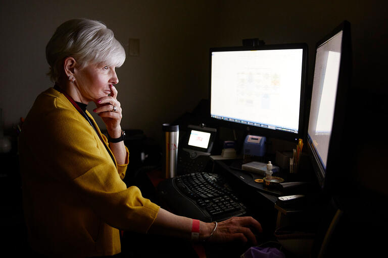 Marcia Ditmyer working at a computer.