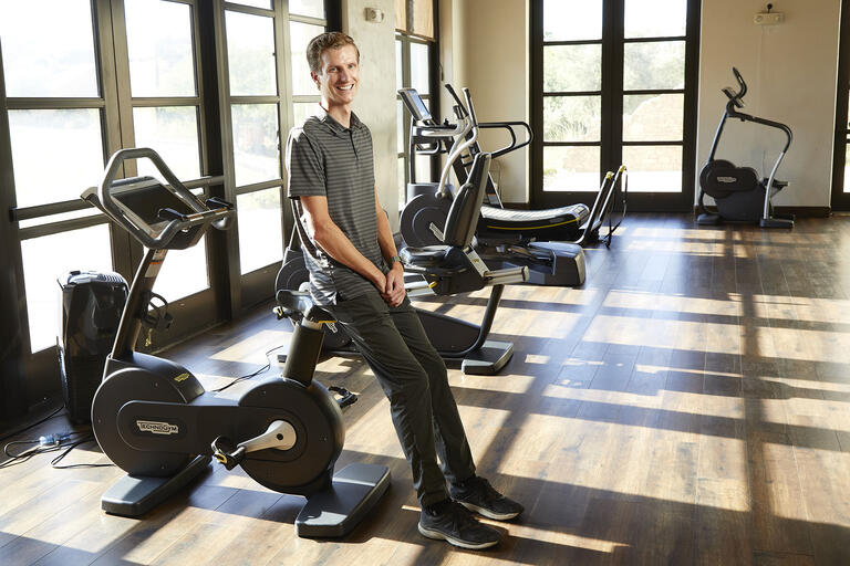 man in fitness room