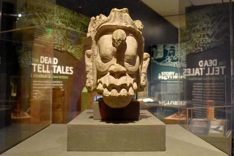 Mayan sculpture on display