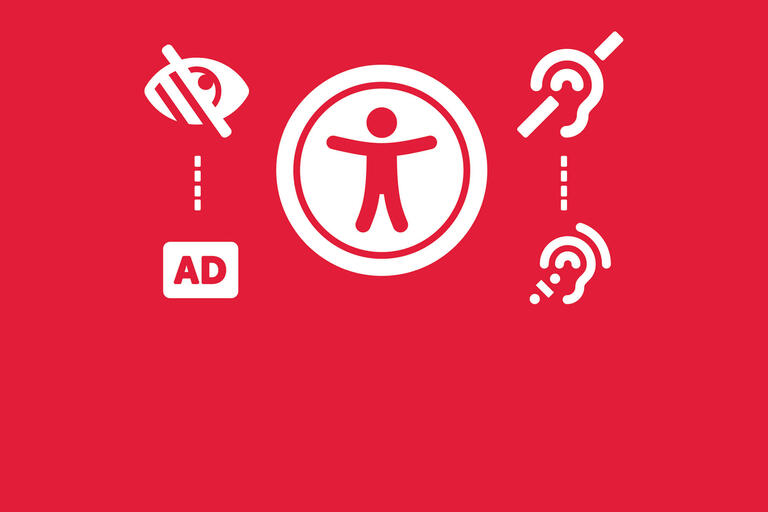 graphic with icons representing universal access, closed captioning, and hearing and vision impairment