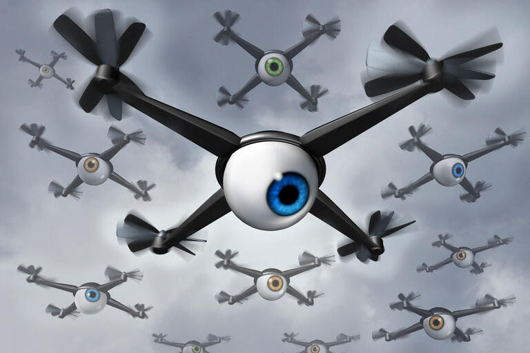 Illustration of a drone with a human eye