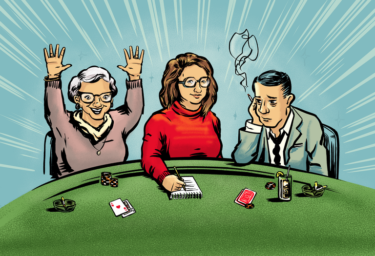 illustration of blackjack players
