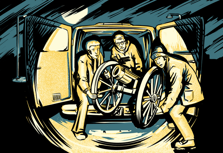 Illustration of students stealing a cannon