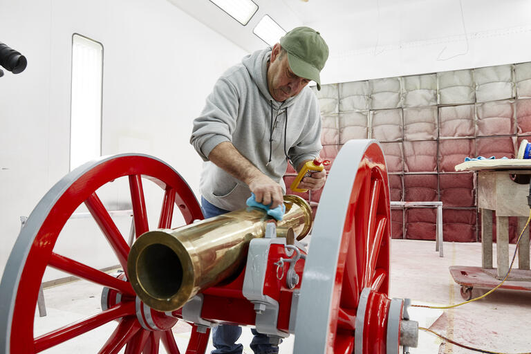 Rick Agrellas shines the Fremont Cannon