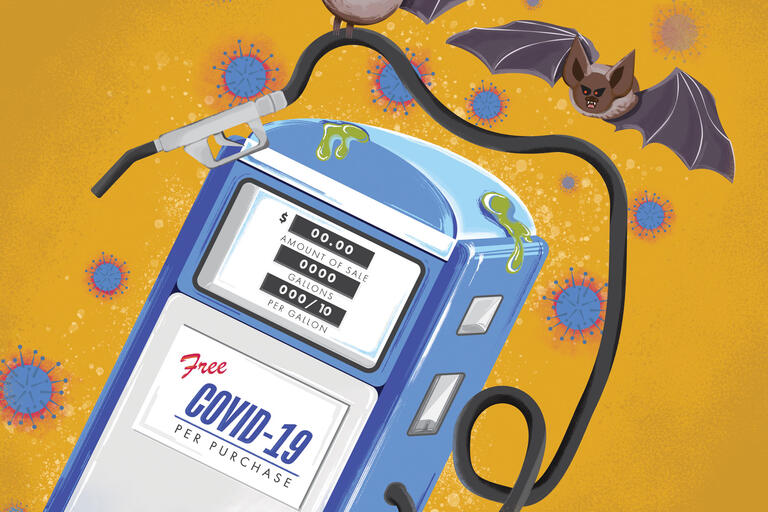 illustration of gas pump with bats flying around